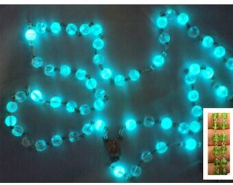 "Green Czech Glass ""Glow in the Dark"" Rosary - Green Glow in The Dark Glass Beads - Our Lady of Fatima Center & Water - Glow in Dark Crucifix"