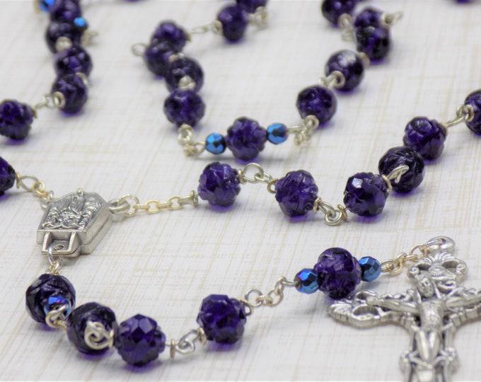 Czech Tanzanite Rosebud Rosary - Czech Tanzanite Rosebud Crystal Beads - Water from Lourdes, France Center -Italian Silver Filigree Crucifix