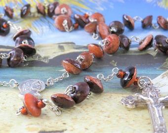 Natural Buri Seed Rosary - Buri Seed Two Tone Brown Mushroom Beads - Italian Lady of Fatima, Portugal Center -Italian Silver Hearts Crucifix
