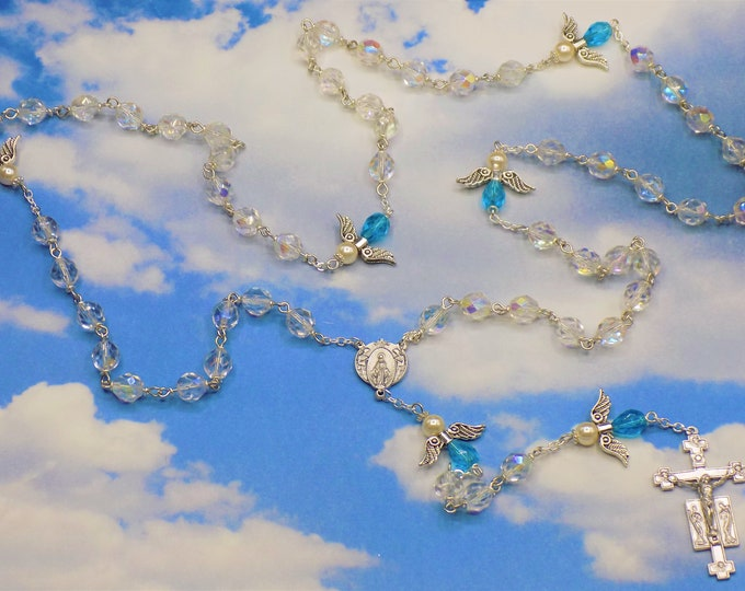 Crystal Angel Rosary - Czech AB Crystal Beads - Czech Aqua & White Pearl Beads - Italian Mary and Angels Center - Italian Angel Crucifix