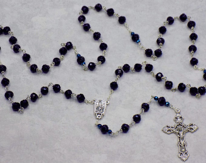 Czech Tanzanite Rosebud Rosary - Czech Tanzanite Rosebud Crystal Beads - Water from Lourdes, France Center -Italian Silver Filigree Crucifix
