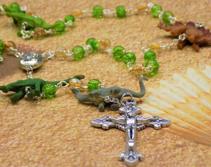 Dinosaur Rosary -  Green & Gold Crackle Glass Beads - Hand Painted Dinosaur Beads - Mary With Earth Center -Italian Flared Sunburst Crucifix
