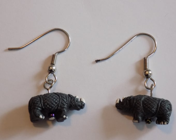 Rhinoceros  & Zebra 3D Earrings