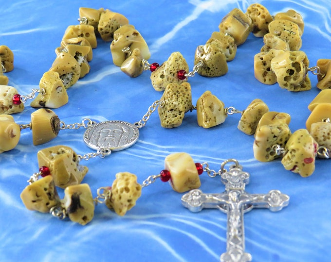 Natural Coral Rosary - Natural Coral Nugget Beads - Czech Red Glass Beads - Italian Silver Holy Face Center - Italian Eucharistic Crucifix