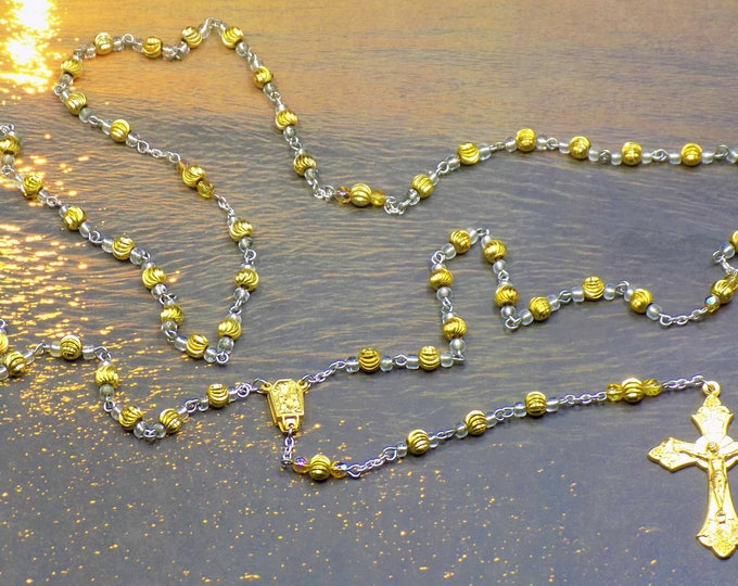 Gold Metal Rosary - Gold Metal Spiral Beads with Clear Crystal Accent Beads - Water From Lourdes, France Center - Italian Gold Crucifix