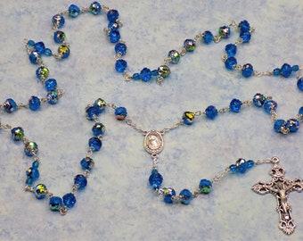 Capri Blue Rosebud Rosary - Capri Blue Virail Crystal Rosebud Beads - Our Lady of Medugorje Center with Earth - Italian Filigree Crucifix