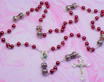 Pearl & Rose Petal Rosary - Red Glass Pearl Beads - Pewter Father Beads with Real Rose Petals - Italian Mary Center - Italian Crucifix