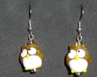 Owl and Blue Bird Earrings - Owl Lampglass Charms - Owl Resin Charms - Blue Bird Glass Charms (14 or 20mm Sizes)