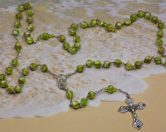 Green Mother of Pearl Rosary - Mother of Pearl set in Pale Green Resin Beads - Water from Fatima Center - Italian Grapes & Vine Crucifix