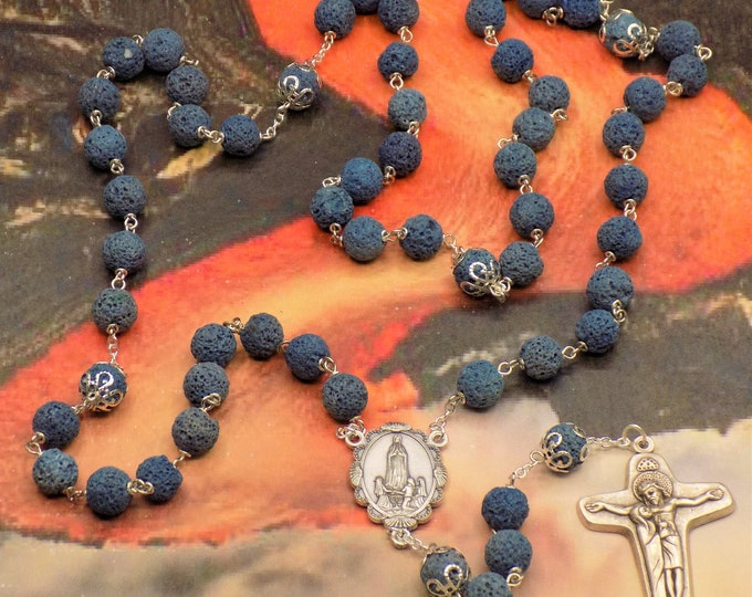 Blue Lava Rock Rosary - Blue Lava Rock Gemstone Beads-Silver Caps-Italian Silver Our Lady of Fatima Center-Italian Sorrowful Mother Crucifix