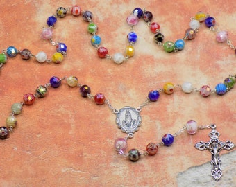 Millefiori Multicolored Rosary - Millefiori Faceted Glass Beads - Lamp Glass Father Beads - Italian Holy Family Centers - Italian Crucifix