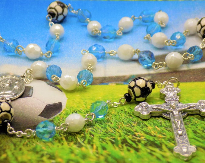 Blue-Aqua and White Soccer Rosary - Czech Blue-Aqua & White Glass Beads - Ceramic Soccer Balls - Saint Sebastian Center-Eucharistic Crucifix