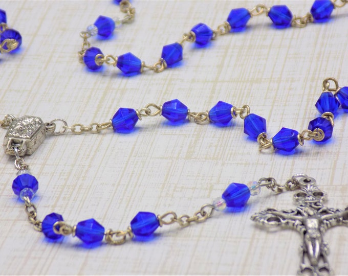 Czech Sapphire Rosary - Czech Sapphire 6mm Diamond Cut Beads - Italian Silver Center Contains Water from Lourdes - Italian Filigree Crucifix