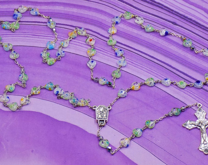 Millefiori Flower Heart Rosary - Millefiori Glass Heart Beads - Italian Center Contains Water From Lourdes - Italian Grapes & Vine Crucifix