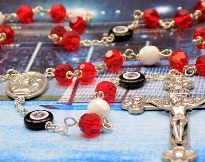Hockey Rosary - Czech 8mm Red and White Beads - Czech Hockey Pucks - Italian Silver Saint Sebastian Center - Italian Eucharistic Crucifix