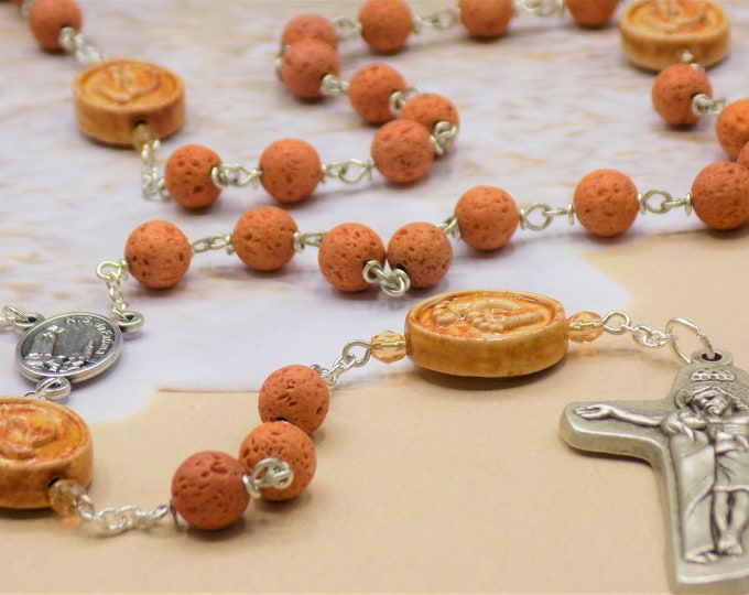 Lava Footprints Rosary - Volcanic Lava Rock Gemstone Beads - Ceramic Beads - Ital Our Lady of Fatima Center - Ital Sorrowful Mother Crucifix