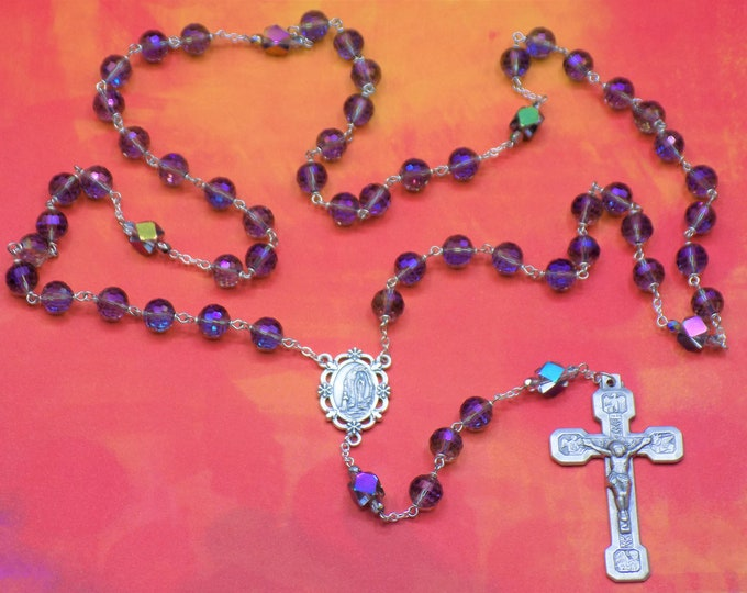 Fancy Cut Purple Crystal Rosary - Purple Fancy Cut Crystal 10mm Beads - Italian Our Lady of Lourdes Center -Italian Silver Stations Crucifix