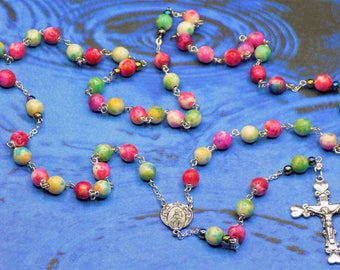 Rainbow Porcelain Rosary - Multi Color Porcelain Beads - Crystal Rainbow Father Accent Beads - Mary and Angels Center - Hearts Crucifix