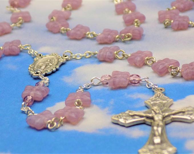 Light Purple Butterfly Rosary - Czech Light Purple Crystal Butterfly Beads -Italian Silver Miraculous Center -Italian Grapes & Vine Crucifix