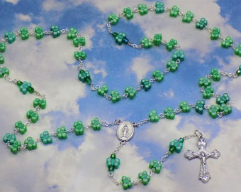 Green Butterfly Rosary - Colorful Green Butterfly Polymer Clay Beads - Czech Beads -  Italian Mary Center - Italian Grapes & Vine Crucifix
