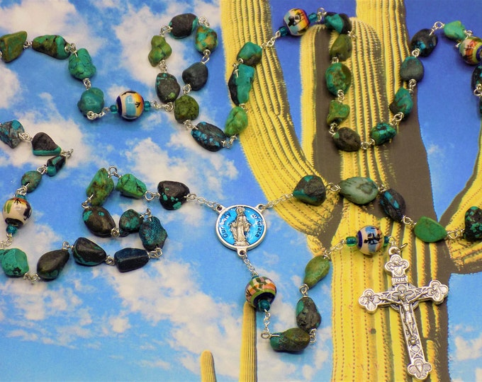 SW Turquoise Rosary - S/P Turquoise Beads - Southwest Painted Ceramic Father Beads- Italian Our Lady of Grace - Italian Eucharistic Crucifix
