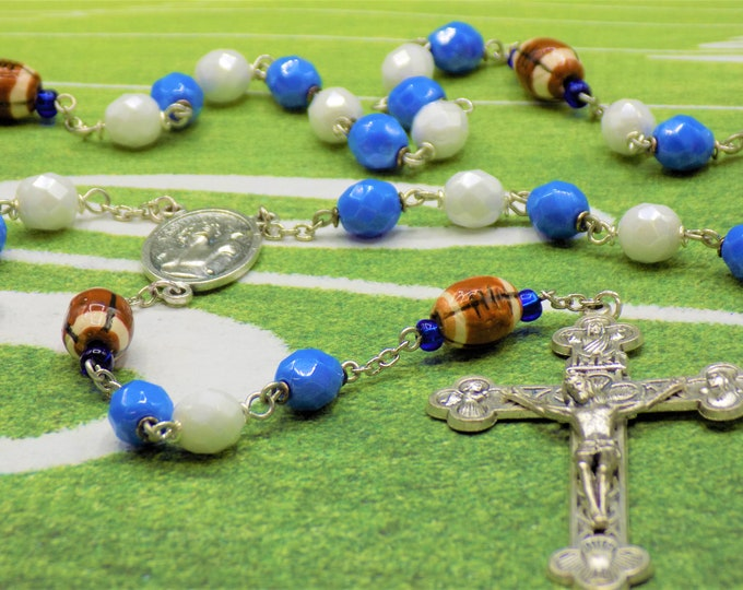 Blue & White Football Rosary - Czech Opaque Blue and White Glass Beads -Ceramic Footballs -St Sebastian Center -Italian Eucharistic Crucifix