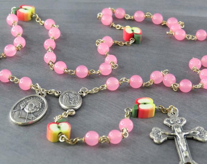 Teacher Rosary - Pink Candy Jade Gemstone Beads - Polymer Apple Beads - Italian Center - Italian Crucifix -St John Baptist De La Salle Medal