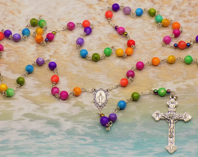 Rainbow Rosary - Mother of Pearl Multi Color Gemstone Beads - Italian Silver Mary Miraculous Center - Italian Silver Eucharistic Crucifix