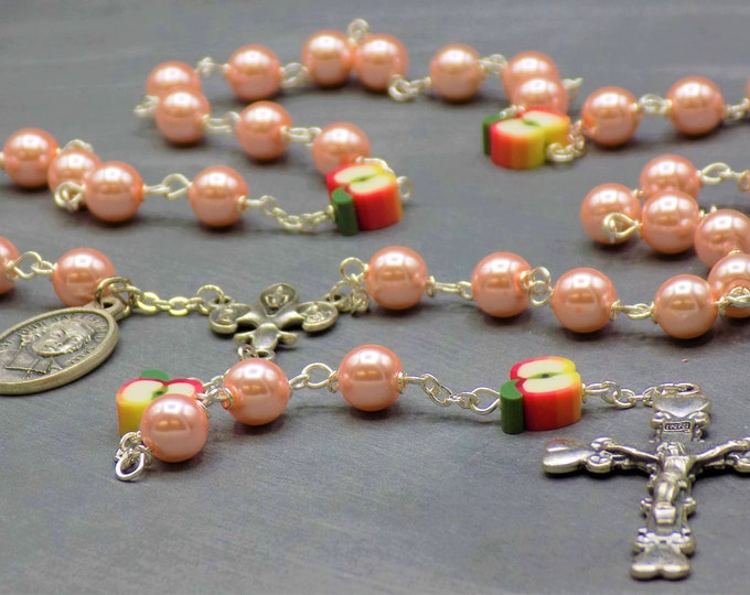 Teacher Rosary - Pink Pearl Glass Beads - Polymer Apple Beads - Fleur-de-Lis Fiat Center - Heart Crucifix- St John Baptist De La Salle Medal