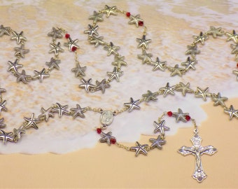 Starfish Rosary - Silver Plated Metal Starfish Beads - Czech Red Glass  - Italian Our Lady of Fatima Soil Center  - Italian Grapes Crucifix