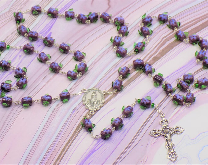 Glass Flower Rosary - Lampwork Glass Purple with Purple Flowers and Green Leafs Beads - Italian Fatima Center -Italian Filigree Crucifix