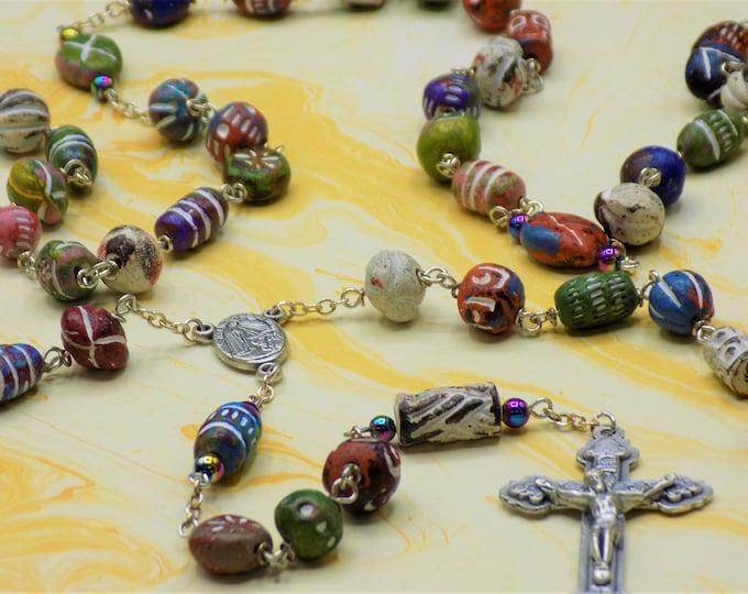 Unique Clay Rosary - Textured Multiple Shape-Color Beads - Rainbow Hematite Beads -Italian Fatima Center with Earth -Italian Hearts Crucifix