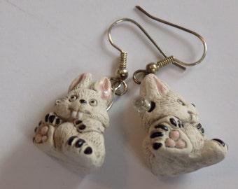 Rabbit and Bunny 3D Earrings - Rabbit in Hat - Cute Bunny - Big Ear Bunny - Chocolate Bunny