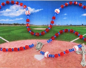 Baseball Sports Rosaries - Red and Dark Blue - Red and White - Purple and Black - Green and Yellow - Red & Light Blue - Baseball Team Colors