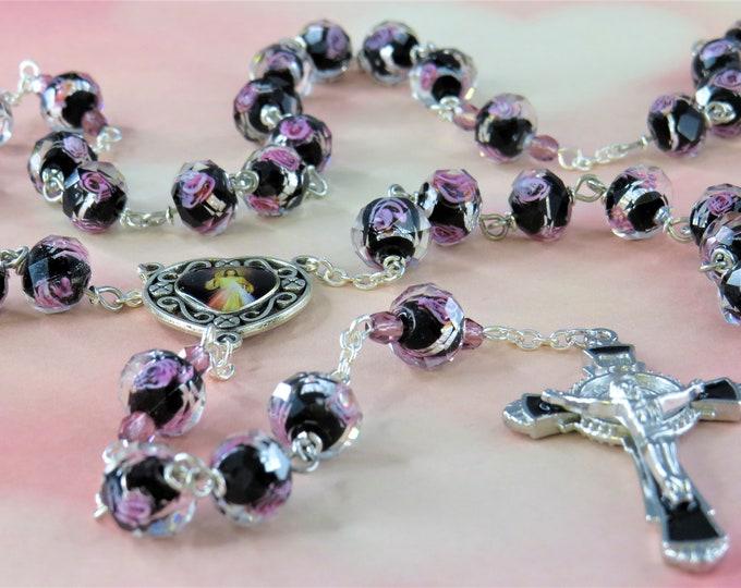 Rose Flower Lamp Glass Rosary - Faceted Rose Flower Black Lamp Glass Beads -  Czech Purple Beads -Divine Mercy Center -Black Enamel Crucifix