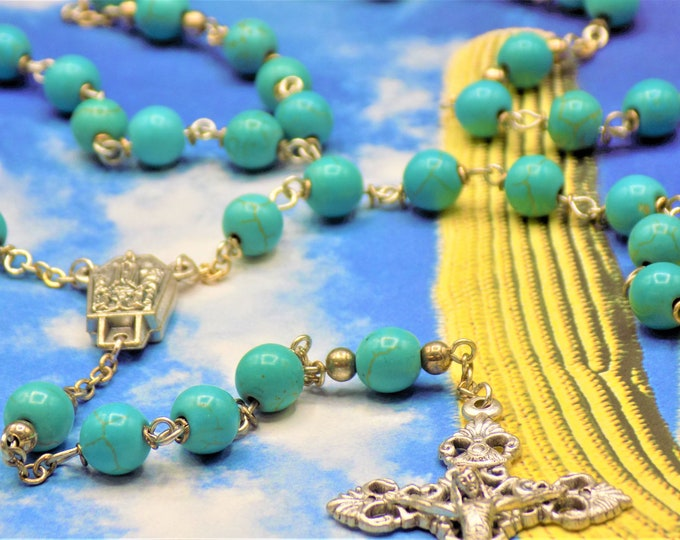 Turquoise Stone Rosary - Turquoise Magnesite Blue Gemstone Beads -Italian Our Lady of Fatima Water Center - Italian Silver Filigree Crucifix