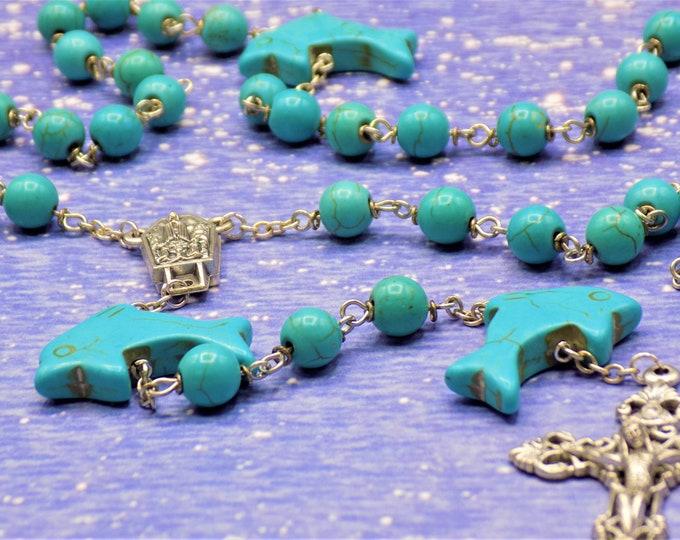Dolphin Turquoise Rosary - Turquoise Magnesite Dolphin & Round Gemstone Beads -Italian Fatima Water Center -Italian Silver Filigree Crucifix