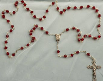 Czech Crystal Rosaries - Czech Crystal 6mm Beads, Ruby, Peridot or Sapphire - Water from Lourdes Center -Italian Filigree Crucifix