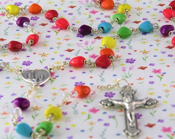 Rainbow Heart Stone Rosary - Magnesite Stone Heart Shape Beads - Italian Silver Fatima Anniversary Center -Italian Silver Hearts Crucifix