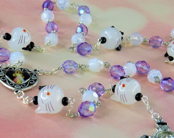 Cat & Mouse Rosary - Lamp Glass Cat and Mouse Beads - Czech Opal and Purple Crystal Beads - Medjugorje-Divine Center  - St Benedict Crucifix