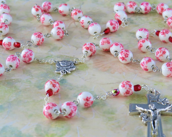 White & Pink Flower Rosary - White and Pink Flower Ceramic Beads - Italian Silver Rose and Mary Center - Italian Silver Flower Crucifix