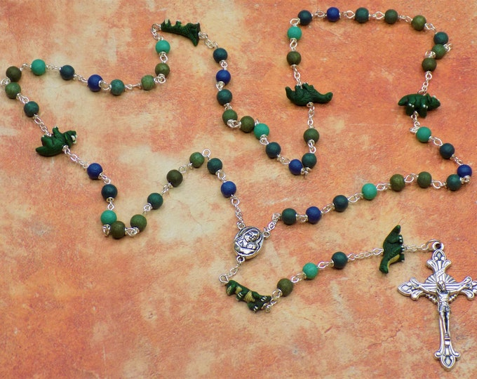 Dinosaur Rosary - Textured Green & Blue Glass Beads - Peru Ceramic Dinosaur Beads - Mary With Earth Center -Italian Flared Sunburst Crucifix