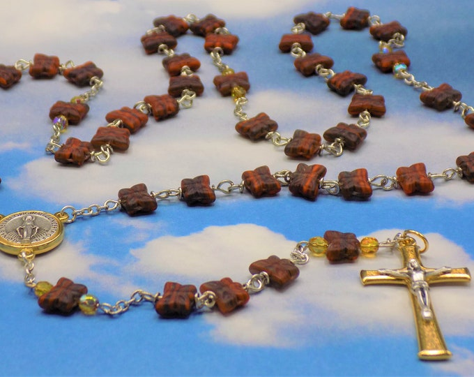 Brown Butterfly Rosary - Czech Glass Brown Butterfly Beads -  Italian Two Tone Silver and Gold Immaculate Conception Center and Crucifix