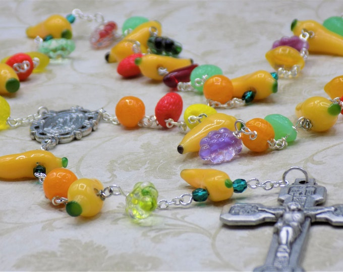 Czech & Lamp Glass Fruit Rosary - Czech Fruit Glass Beads- Glass Bananas Beads - Our Lady of Lourdes Center - Stations of the Cross Crucifix