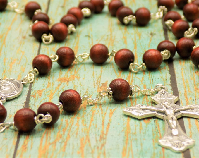 Czech Mahogany Wood Rosary - Czech Mahogany 8mm Wood Beads - Italian Silver Medjugorje Center with Earth - Italian Grapes and Vine Crucifix