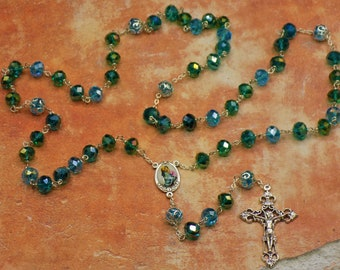 Teal & Aqua Crystal Rosary - Dark Teal and Aqua Crystal Beads, Fancy Metal Caps - Mary and Child Color Center - Italian Filigree Crucifix