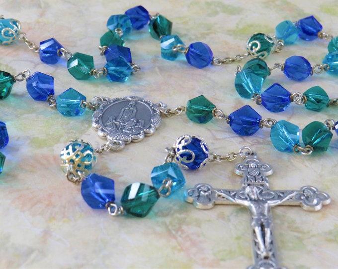 Fancy Cut Aqua, Green & Blue Crystal Rosary - Aqua, Green and Blue Crystal Beads -Italian Lady of Fatima Center-Italian Eucharistic Crucifix
