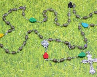 Purple & Silver Ladybug Rosary - Czech Purple and Silver Ladybug Glass Beads - Stone Leaf Beads - Italian Rose Center - Italian Crucifix
