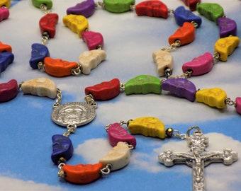 Stone Moon Face Rosary - Multi Color Stone Moon Face Beads - Italian Silver Holy Face Center - Italian Silver Eucharistic Crucifix