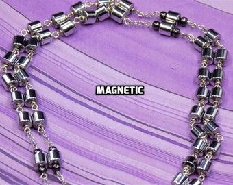 Magnetic Hematite Rosary - Semi Precious Magnetic Hematite Cylinder Beads - Italian Centers - Italian Crucifixes